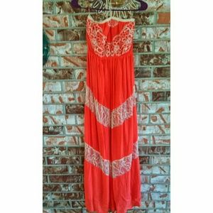 Flying Tomato Boho Lace Halter Maxi Dress Size S